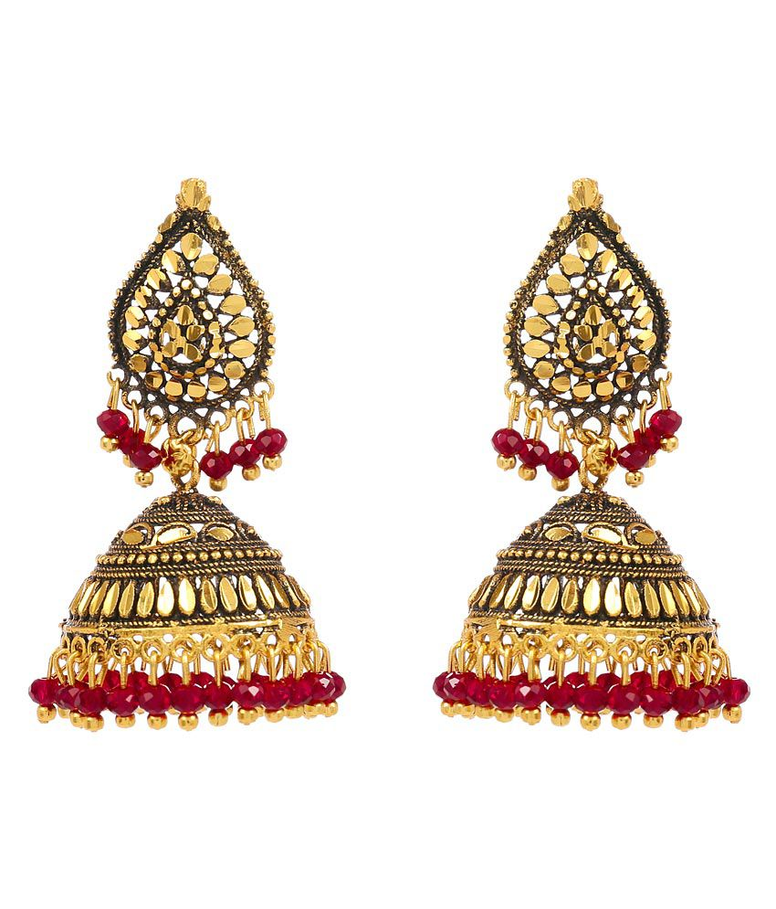 Antique Look Charming Red Beaded Hanging Jhumki by GoldNera