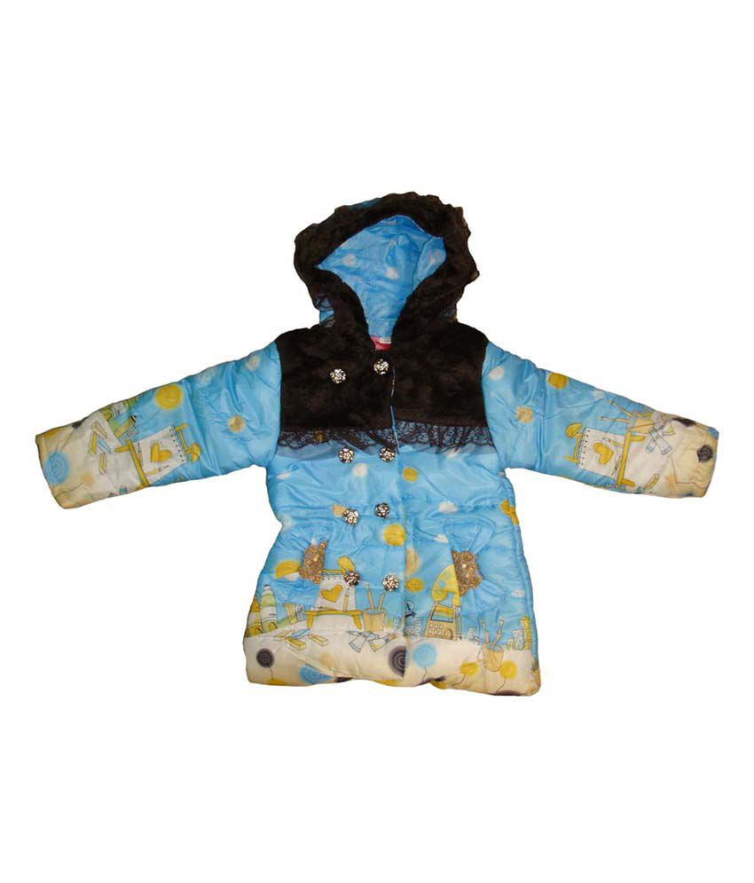 Bodingo Sky Blue Synthetic Full Sleeve Padded Jacket