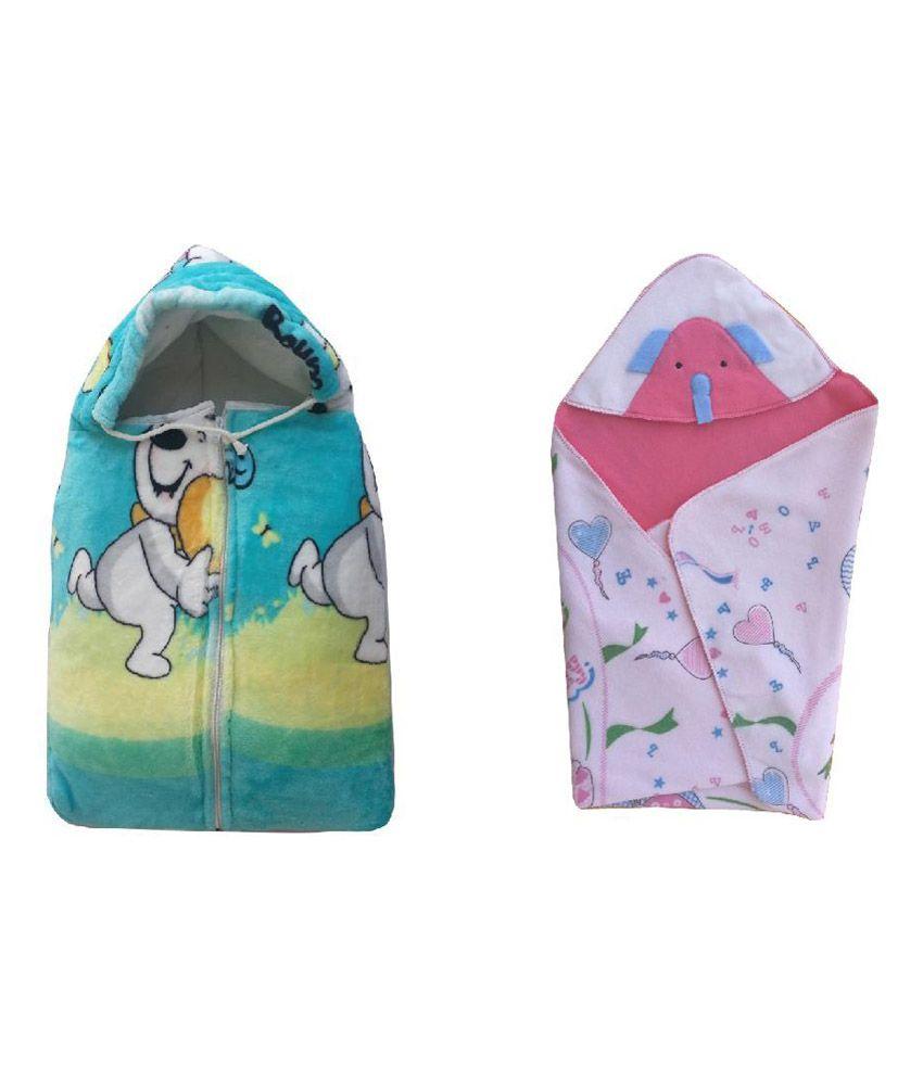 Cute Baby Combo of Bowoo & Peng Baby Sleeping Bag & Bear print head covering baby holding sheet