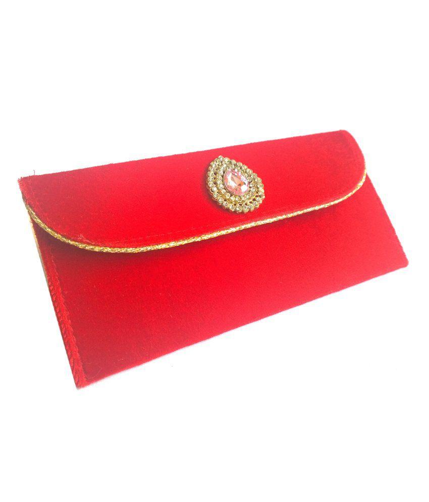 Ethnic Art's Handcrafted Single Pocket Regal Red Velvet Clutch