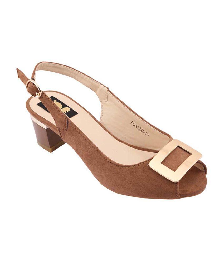 Gossip Brown Medium Heel Block Sandals For Women
