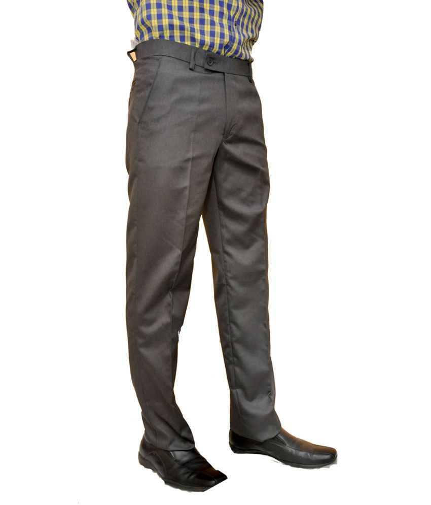 Smartshop123 Gray Poly Viscose Regular Formal Trouser