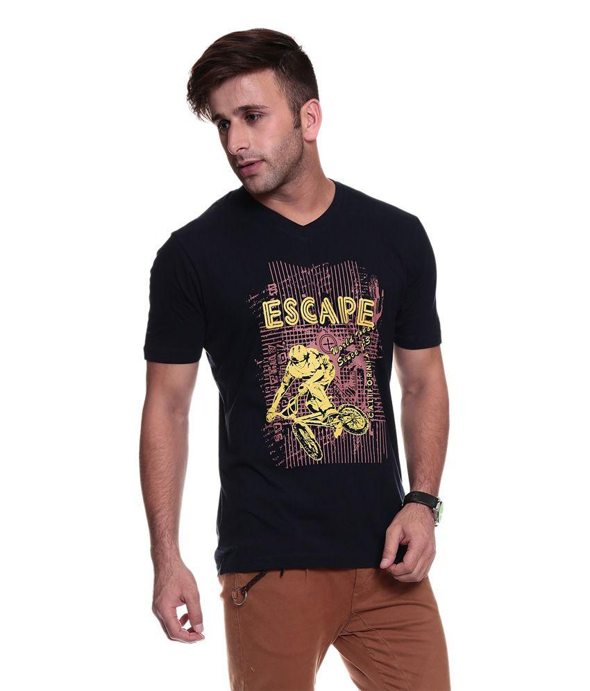 TSG Escape Men'S V Neck Navy Blue Printed T-Shirt