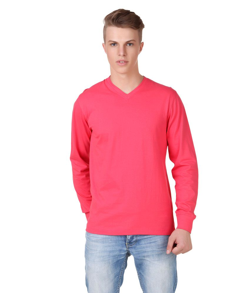 Aventura Outfitters Pink Cotton V-neck Full T-shirt