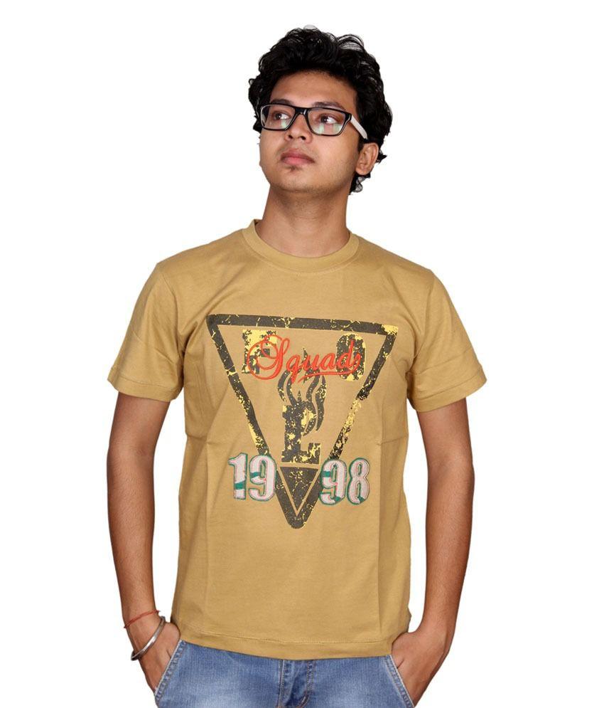 Fulon Khaki Cotton Round Half T-shirt