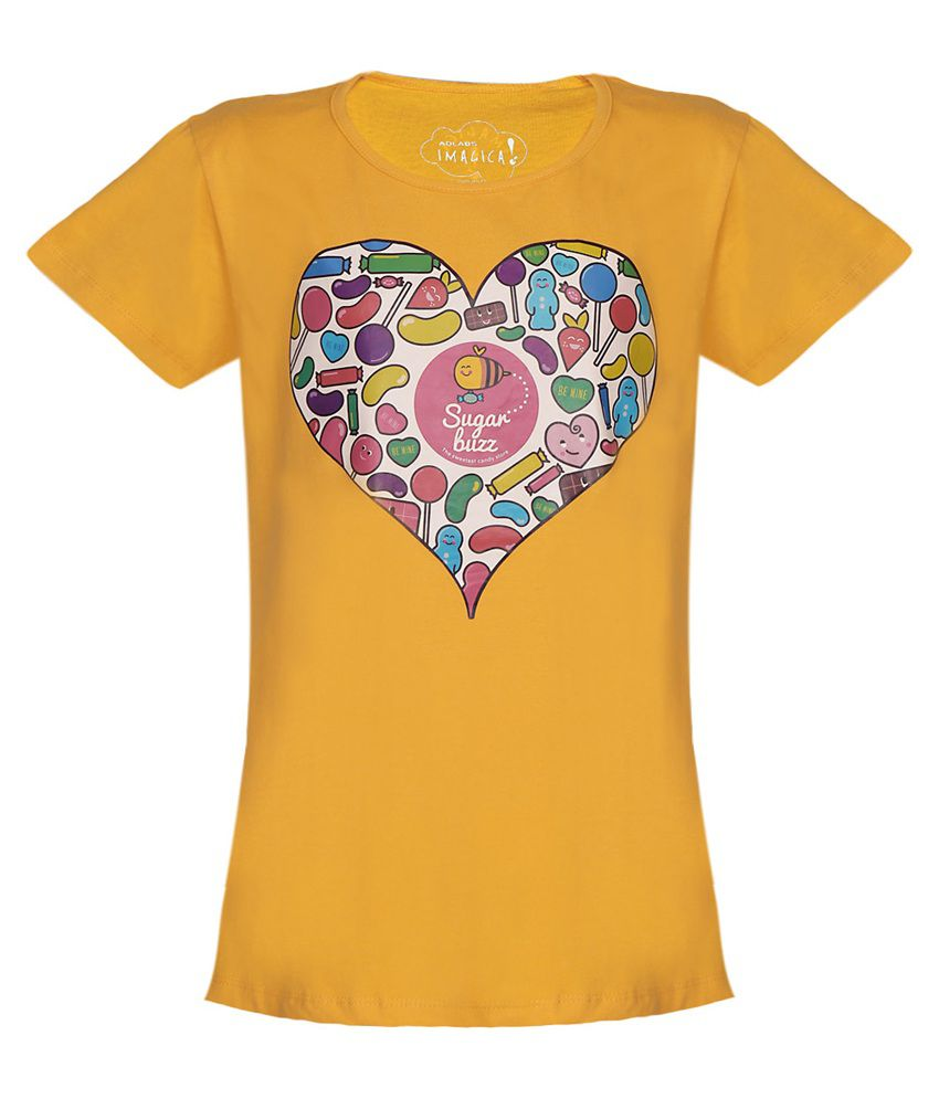 042e8fba73 Imagica Yellow Sugar Buzz Heart T Shirt For Girls - Buy Imagica Yellow  Sugar Buzz Heart T Shirt For Girls Online at Low Price - Snapdeal