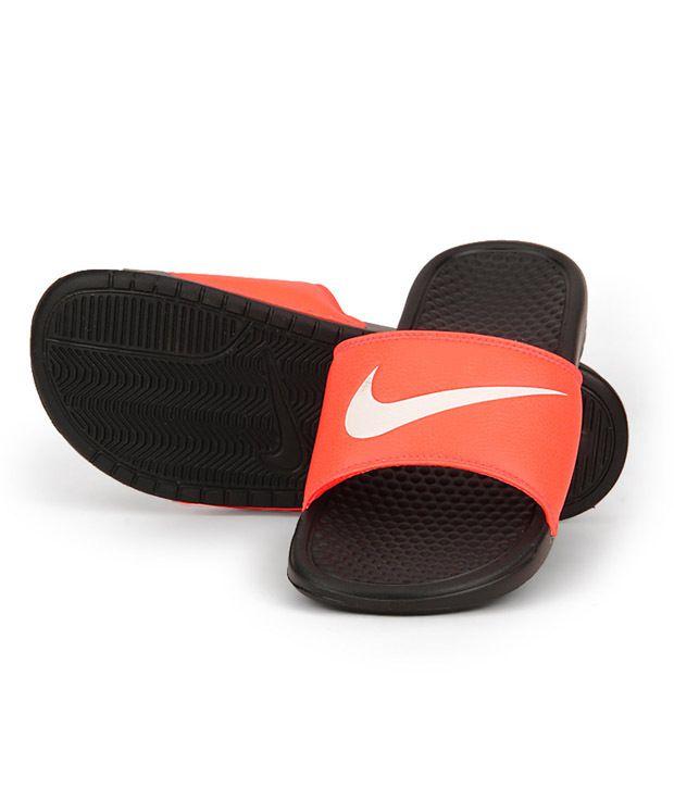 4cb118af4b1a Nike Benassi Swoosh Orange Black Slippers Nike Benassi Swoosh Orange Black  Slippers ...