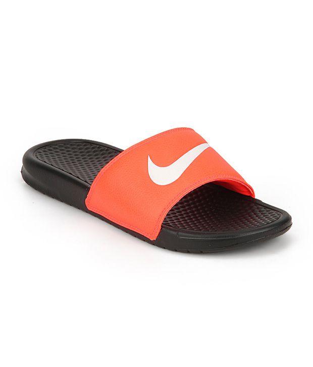 e5774fb23dac1 Nike Benassi Swoosh Orange Black Slippers Price in India- Buy Nike Benassi  Swoosh Orange Black Slippers Online at Snapdeal