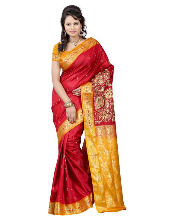 Sweta Sarees Multi Color Matka Silk Kutch Saree Buy Sweta Sarees