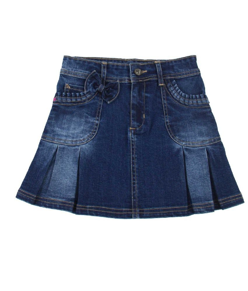 Vitamins Blue Color Patch Work Skirts For Kids