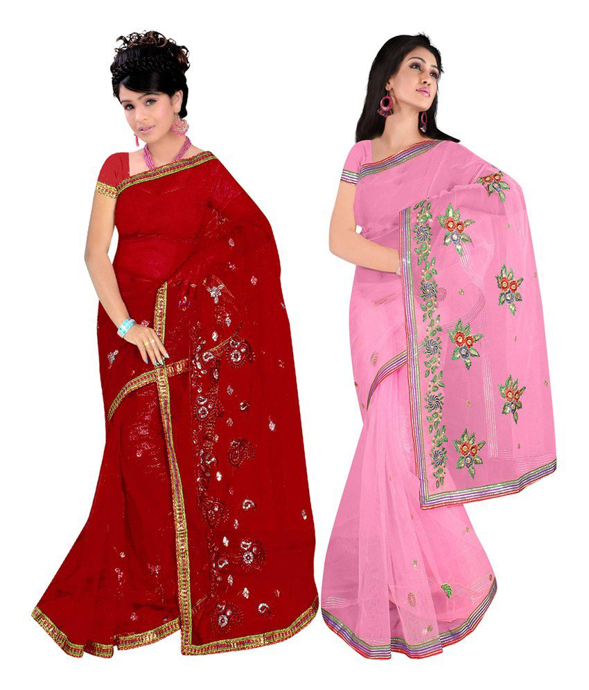 Khazana Bazaar Multi Color Net Embroidered Sareee With Blouse Piece Pack Of 2