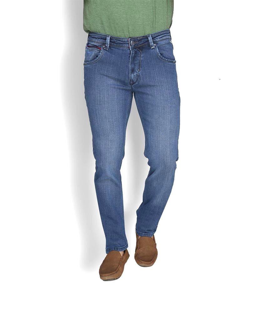 Leonidas Blue Cotton Slim Fit Jeans