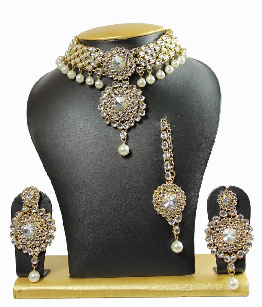 Sewad Alloy White Necklace Set