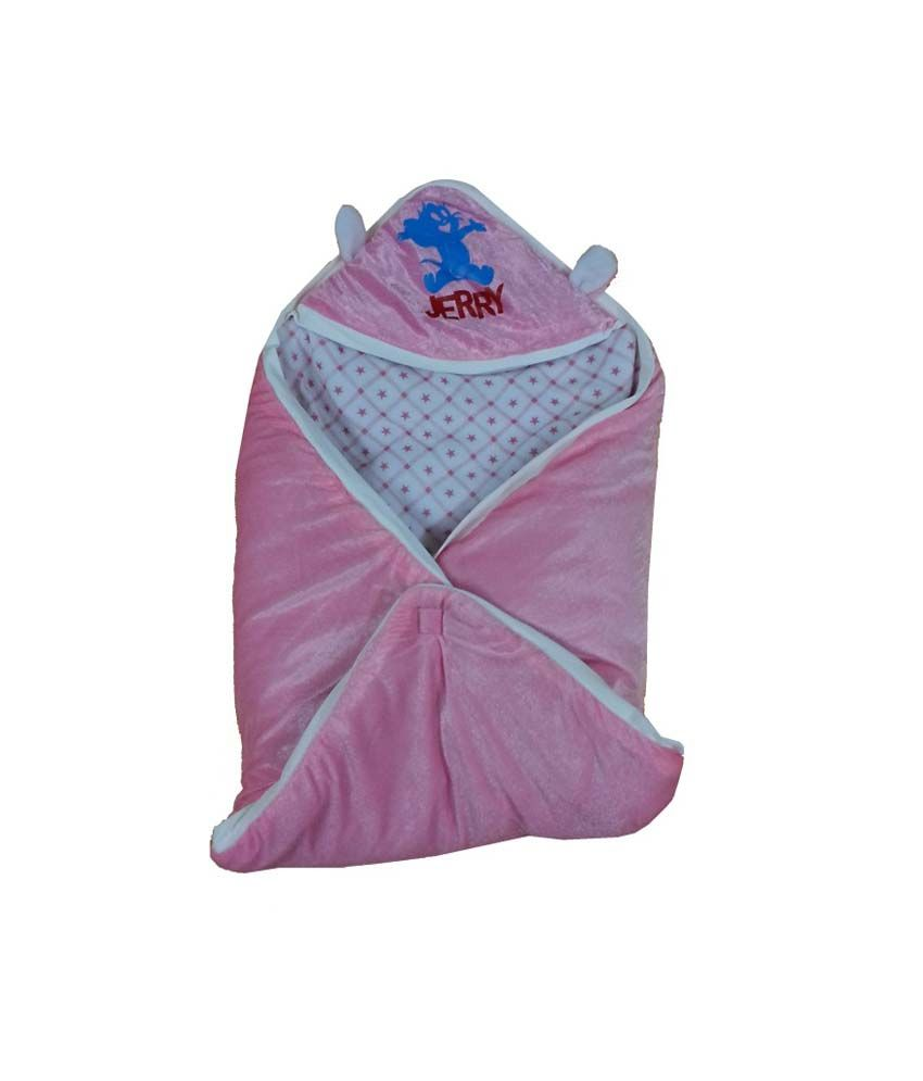 Cute Baby Light Shiny Pink Checks Print Baby Wrap