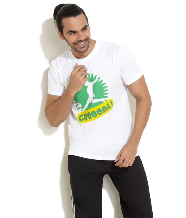 Fifa White Go For Goal Printed T-Shirt