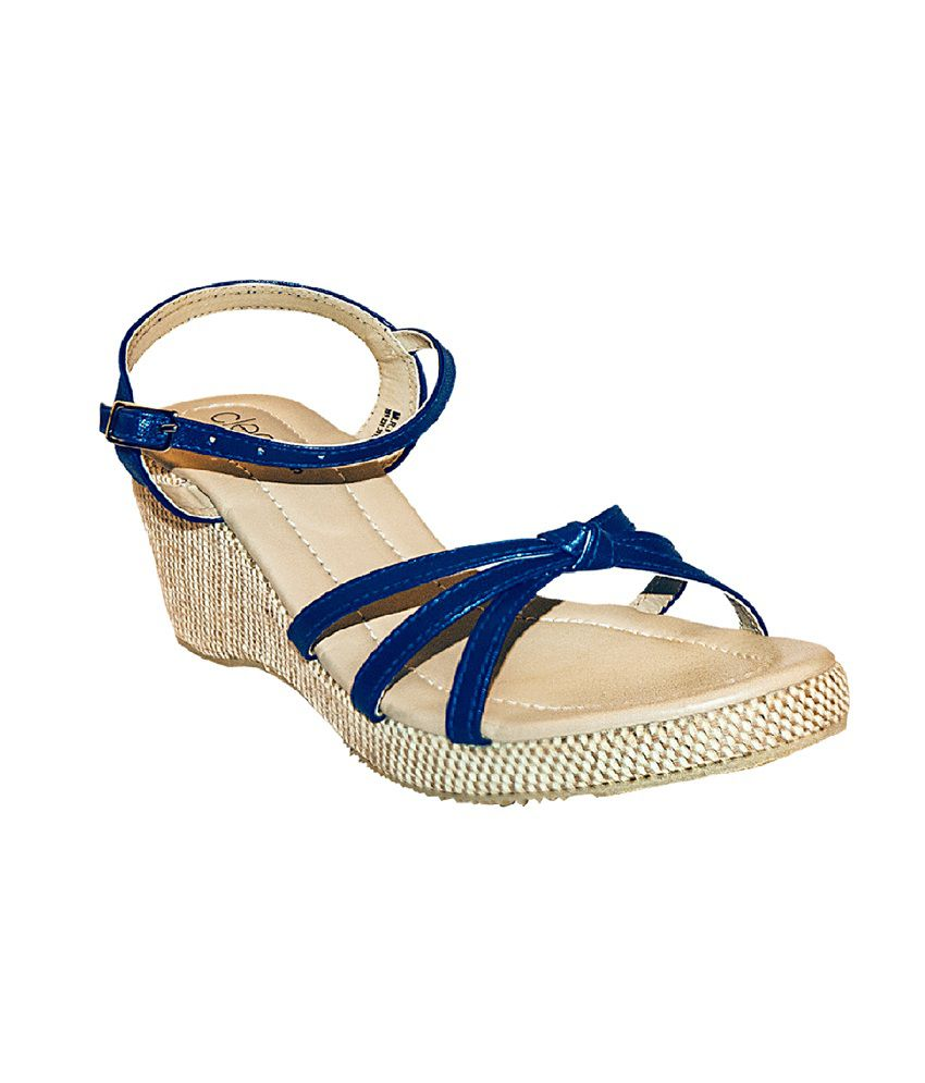 Khadim's Cleo Women Blue Strap-on Wedges