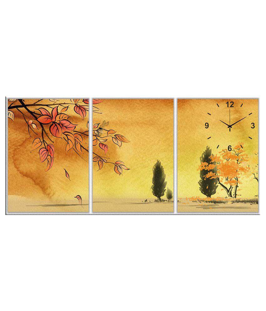 Artjini Orange & Green Three Panel Canvas Wall Clock: Buy Artjini ...