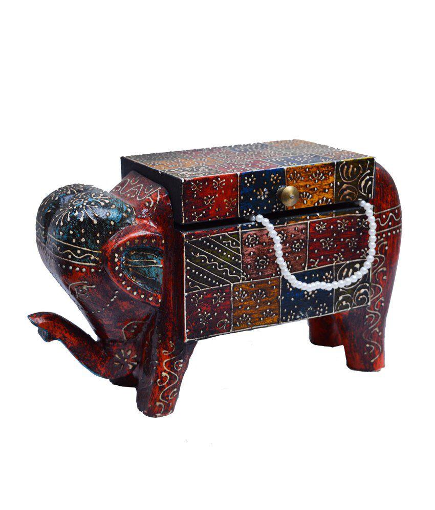 eCraftIndia Wood Jewellery Box Multicolour
