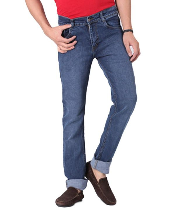 Focker Trendy Blue Slim Fit Fine Fabric Five Pocket Stretchable Jeans