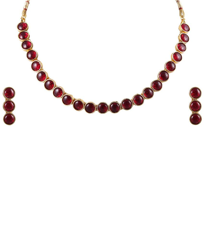 Vastradi Red & Golden Necklace Set