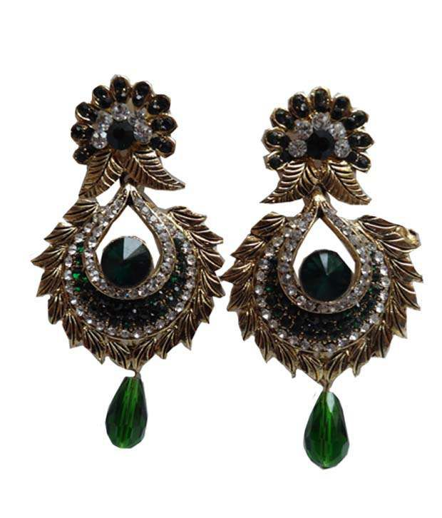 Stylz Gold Plated Designer Chandeliers Earrings
