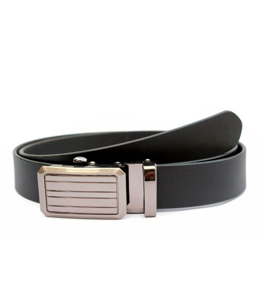 Tops Black Leather Autolock Buckle Belt