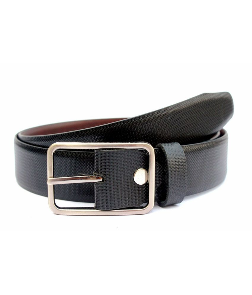 Tops Black Leather Pin Buckle Belt