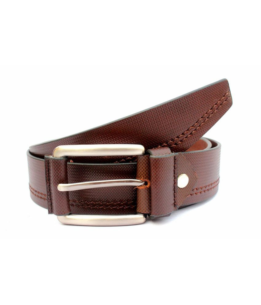 Tops Brown Leather Pin Buckle Belt