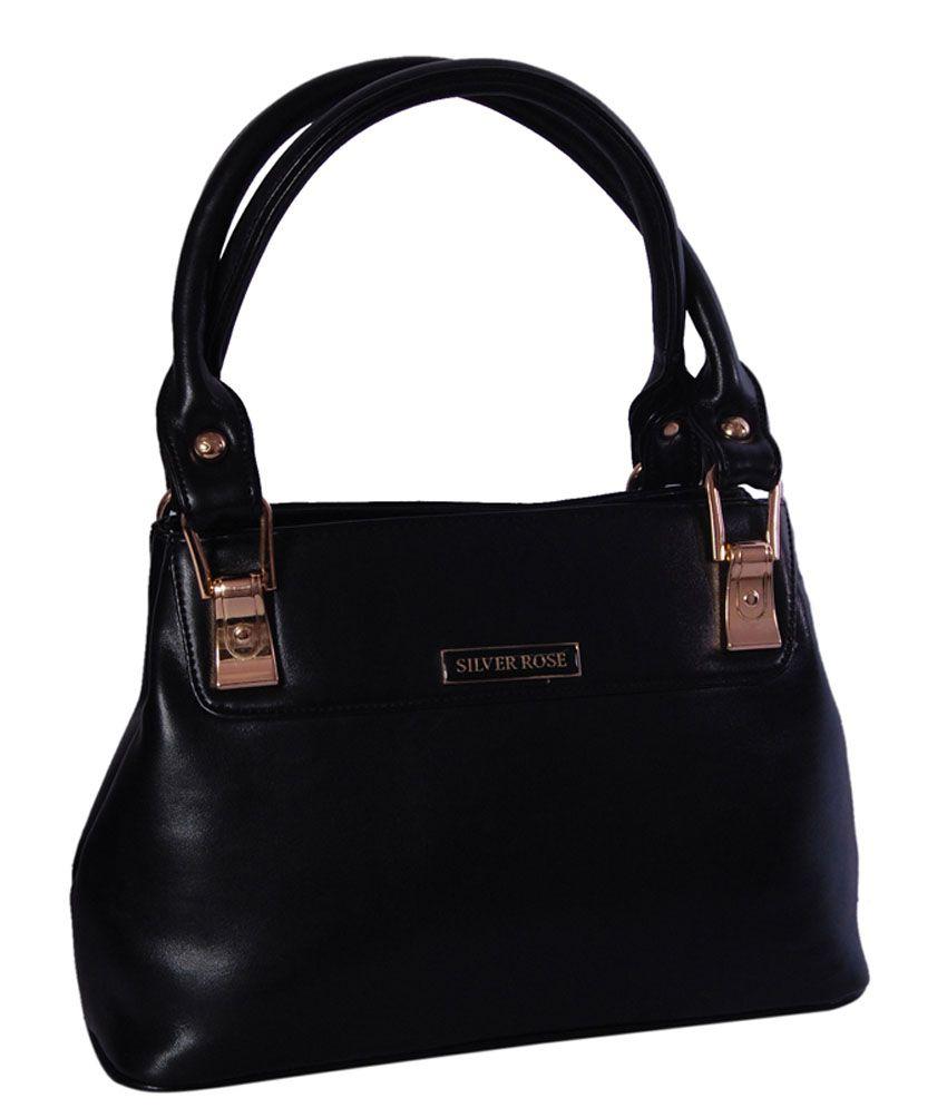Womaniya Ethnic Black Zip Rose Collection Shoulder Bag