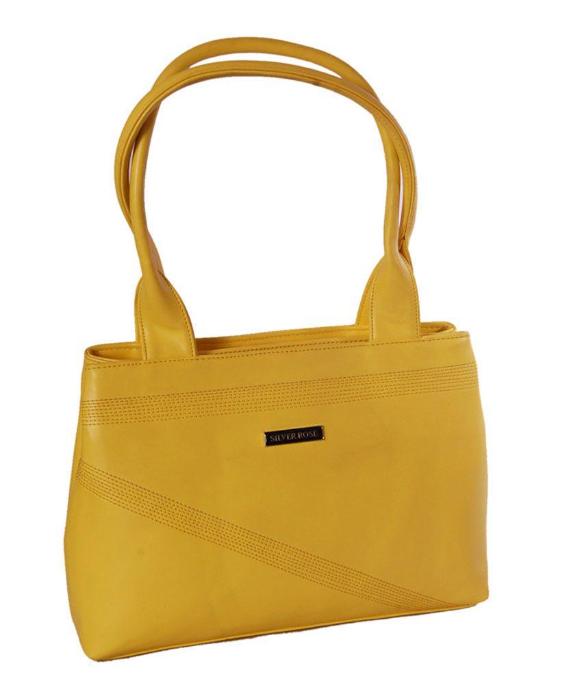 Womaniya Ethnic Yellow Zip Rose Collection Shoulder Bag