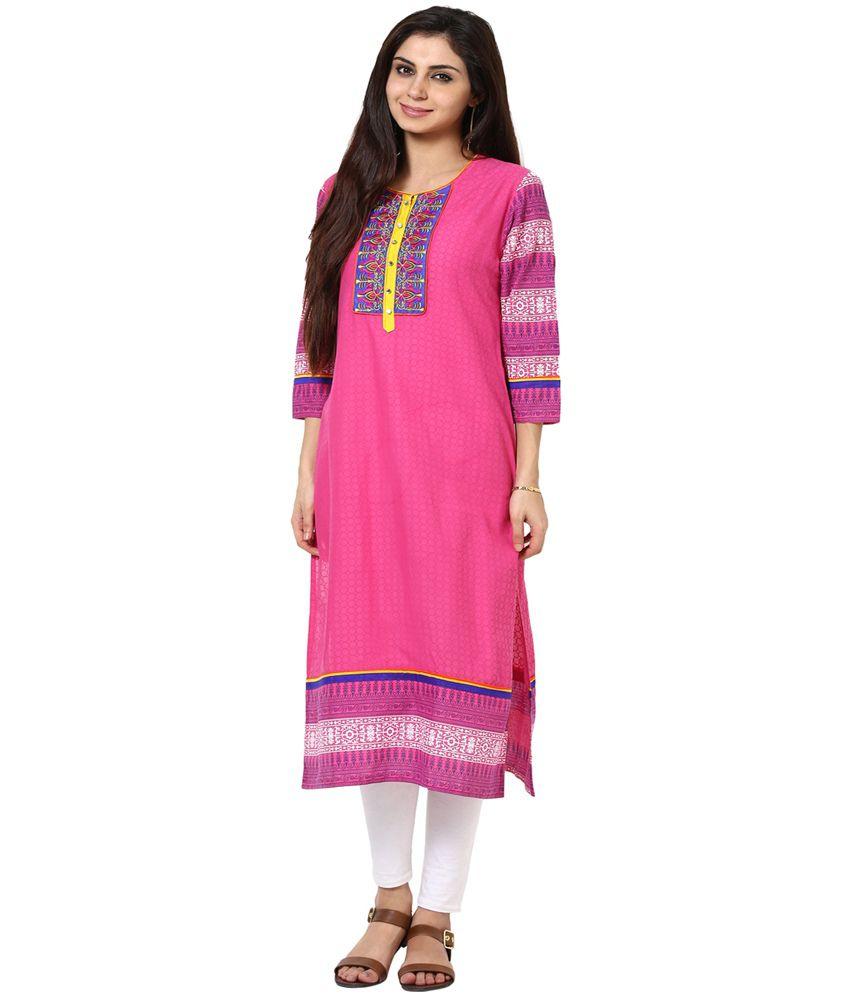 Prakhya Pink 3/4th Sleeves Long Cotton Embroidered Woven Kurtis