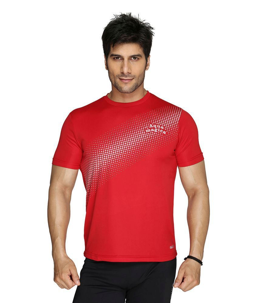 Aquamagica Red Polyester T-shirt