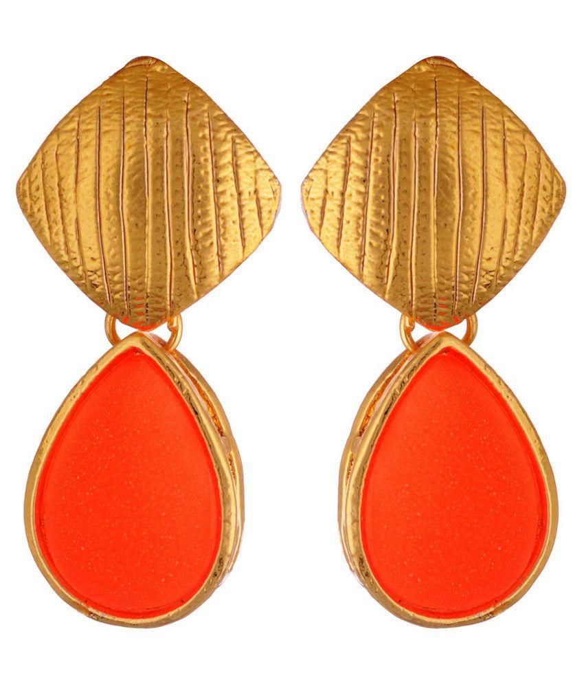 Kshitij Traditional Orange Drop Earrings