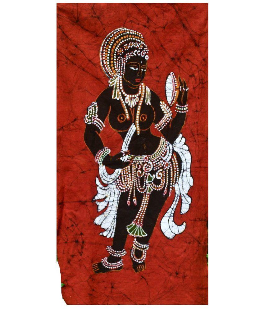 Mandi Ajanta Temple Lady With A Mirror Wall Art