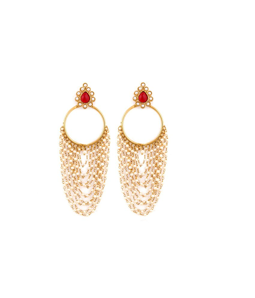 Red Chandelier India: Rooh- White And Red Chandelier Earrings