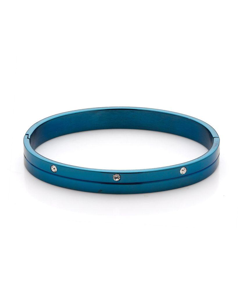 Voylla Radiant Blue Stainless Steel Bracelet Band With Shiny CZ, Size 2.5