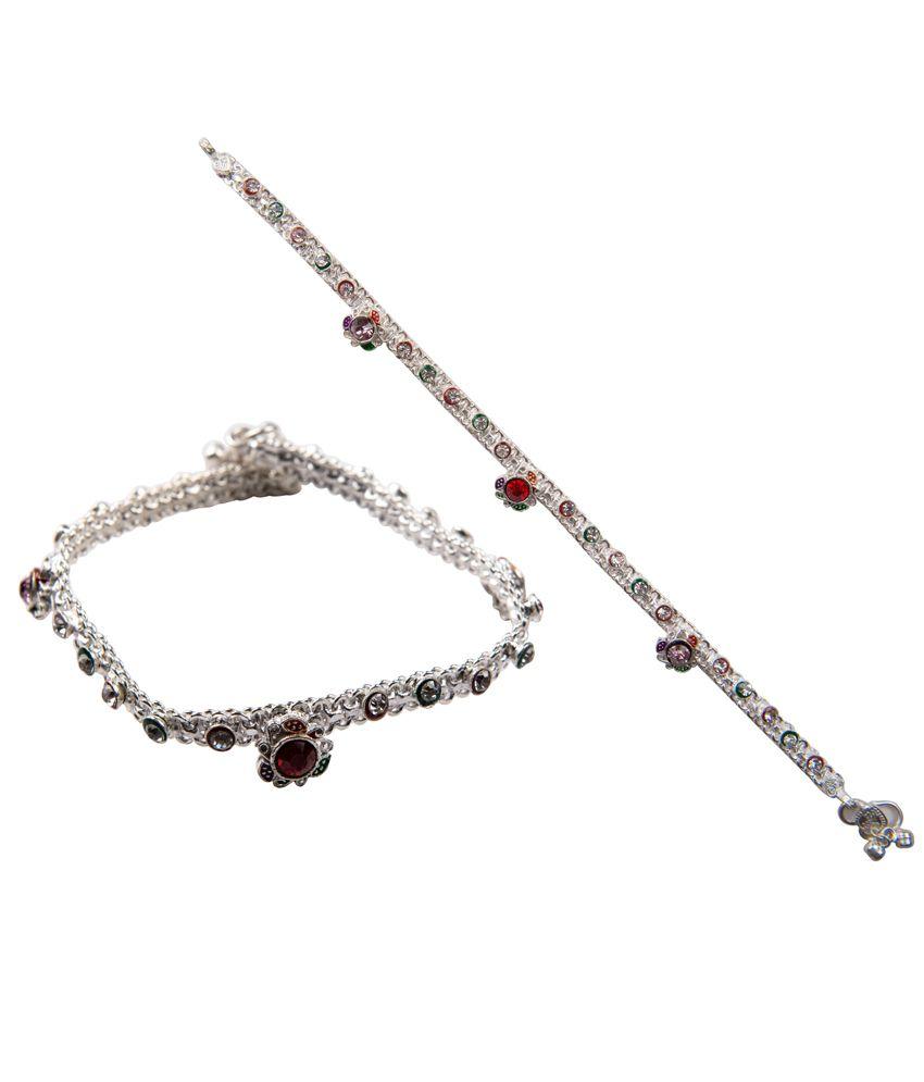 Taj Pearl Silver Style Diva Anklets