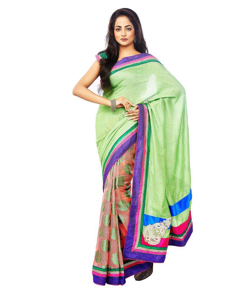Zorba in style green jute saree buy zorba in style green for Style green