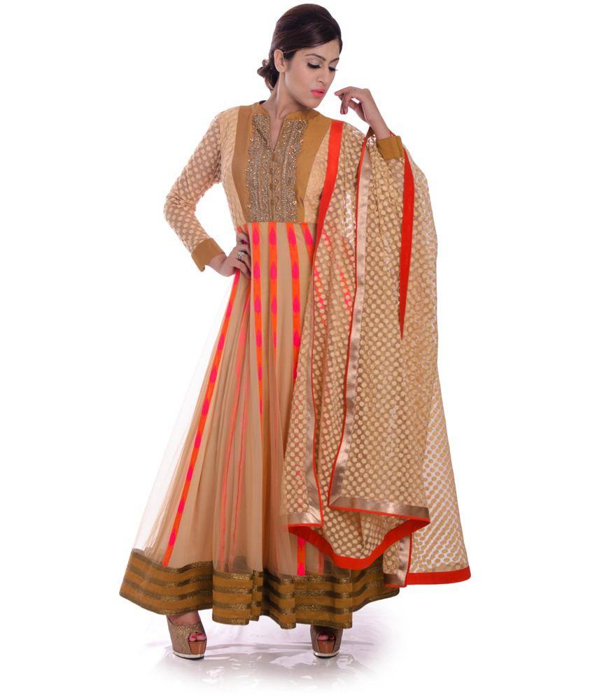 1600ad Beige Embroidered Net Anarkali Stitched Salwar Suit