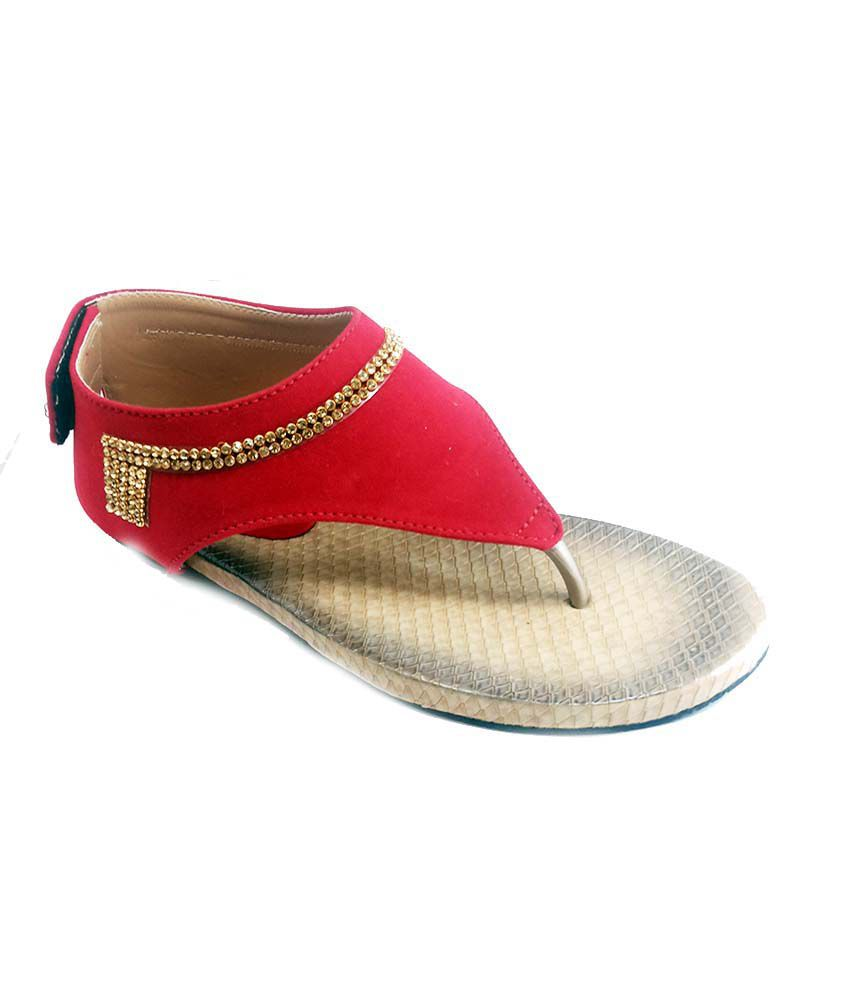 Bindass Red Faux Leather Round Toe Women's Sandal