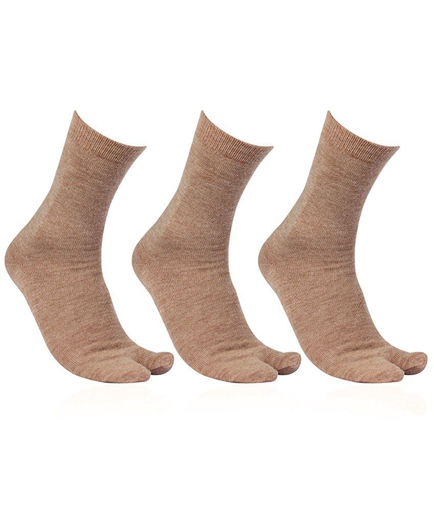 Bonjour Deluxe Light Brown Thumb Socks For Women (3 Pairs)