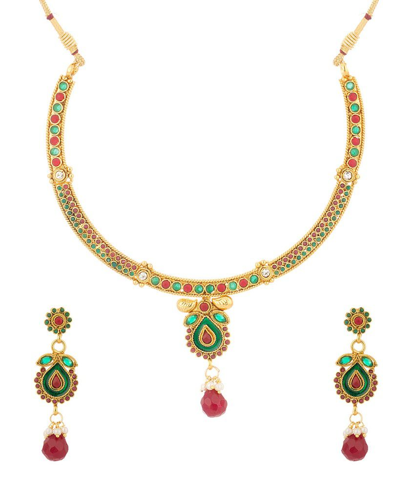 Voylla Gold Plated Necklace Set Adorned With Shiny Cz And Colored Stones