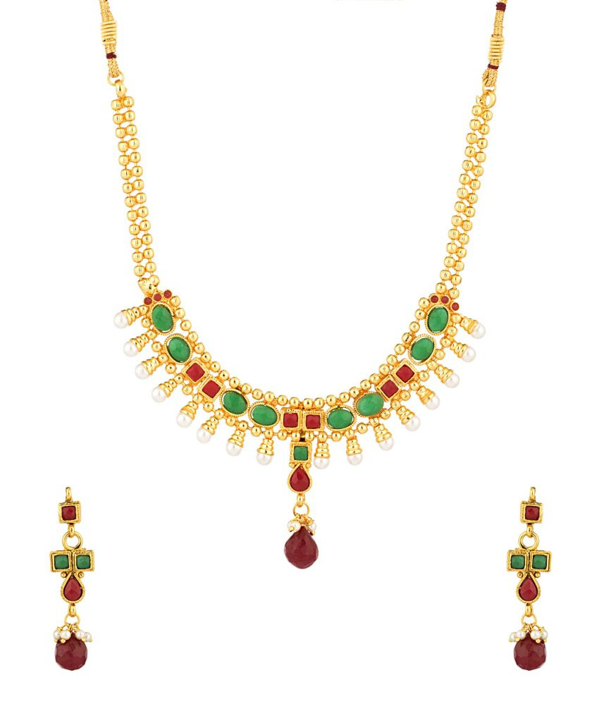 Voylla Gold Plated Necklace Set Adorned With Colored Stones And Pearls