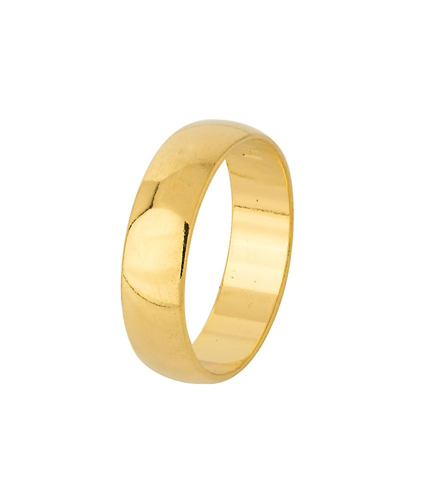 Voylla Mens Band Ring With Gold Tone, Size 23.0