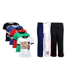 Goodway Pack of 7 Boys Attitude 5Pack Tee & Boys 2Pack Fashion Full Pant Combo Pack