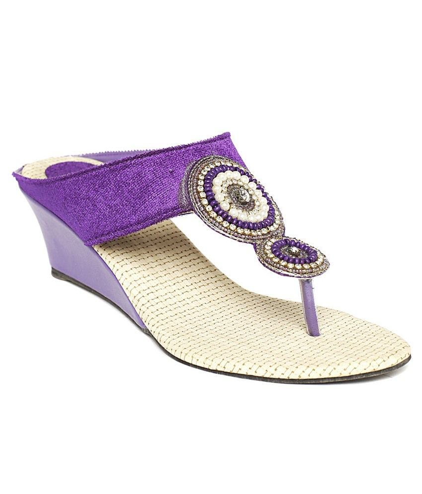 Foot Jewel Purple Wedges Heeled Slip-on
