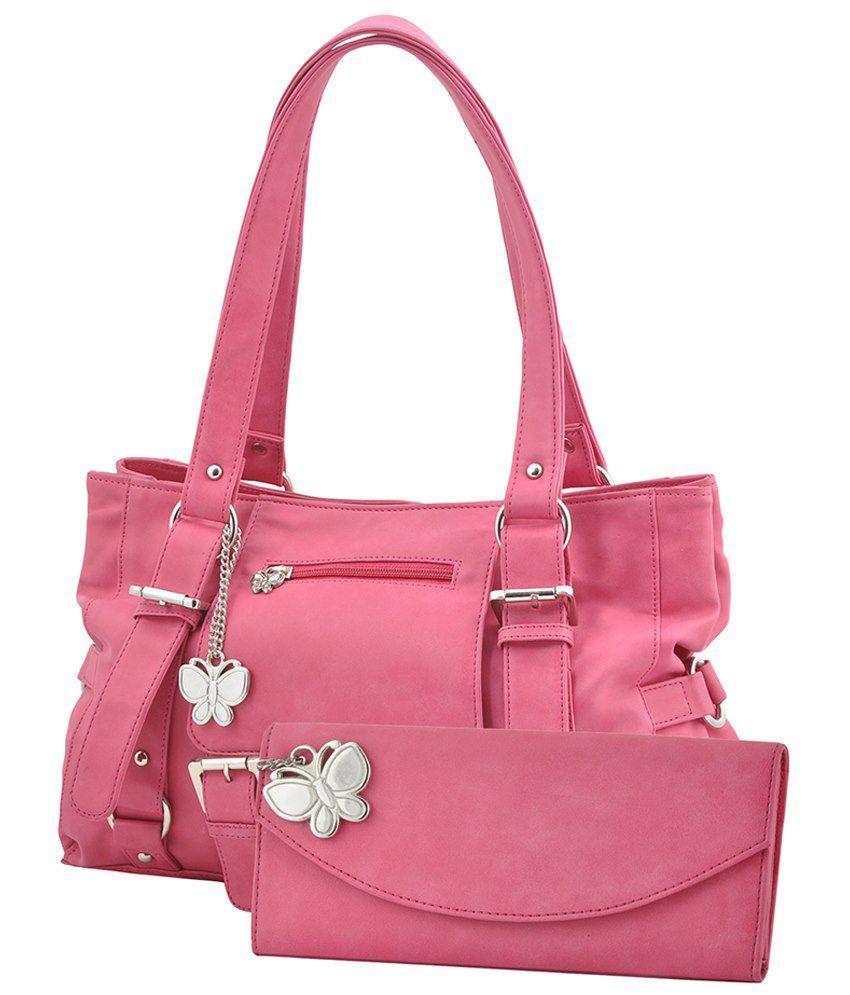 Butterflies Pink Faux Leather Satchel Bag