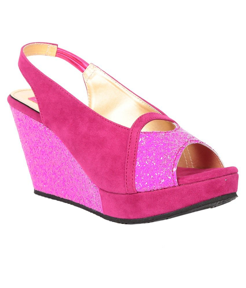 Butterfly Pink Wedges Sandals