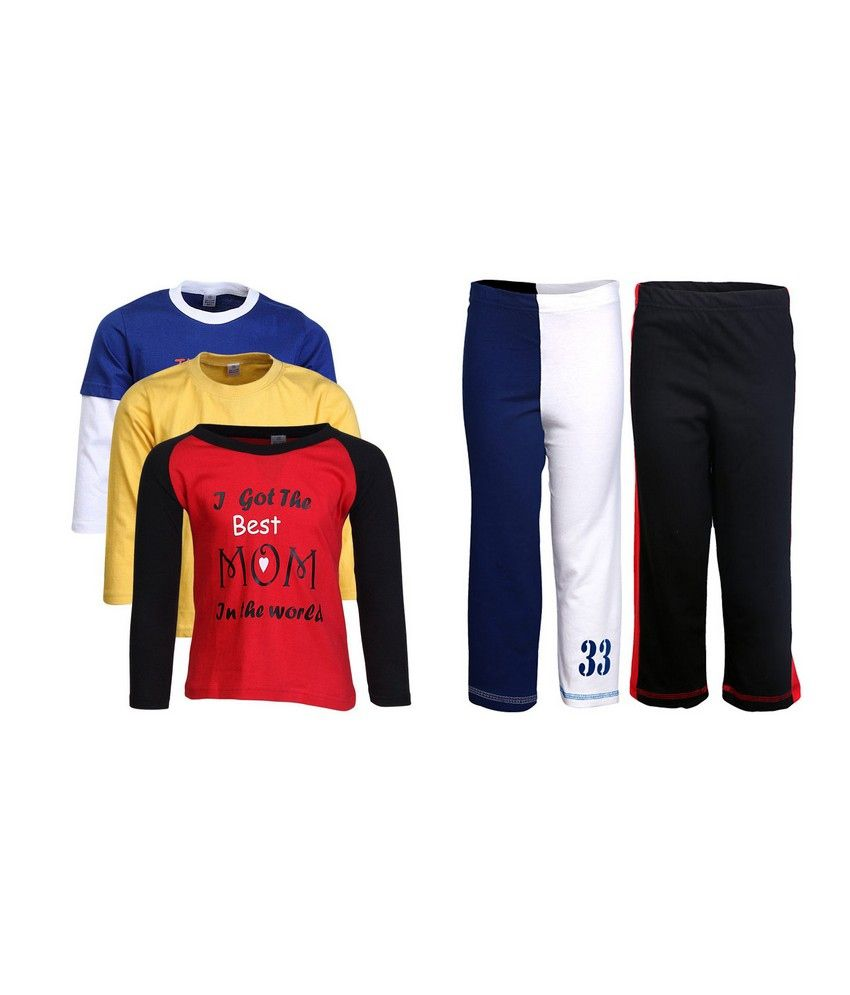 Goodway Pack of 5 -Boys MND COL 3Pack Tee  &  Boys 2Pack Fashion Full Pant Combo Pack