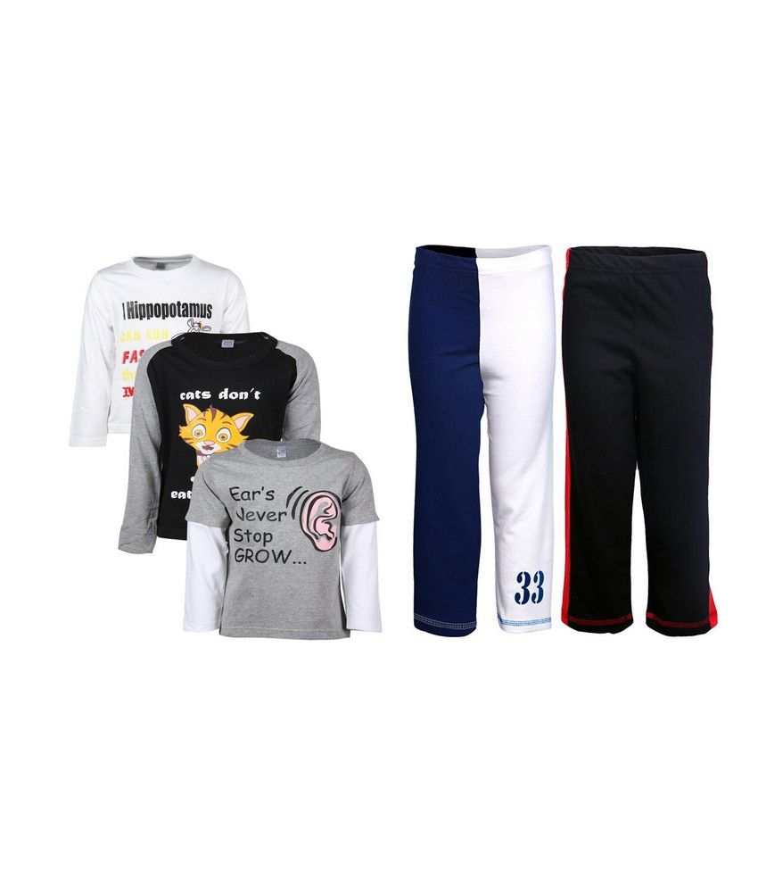 Goodway Pack of 5 -Boys Did You Know BWG 3Pack Tee  &  Boys 2Pack Fashion Full Pant Combo Pack